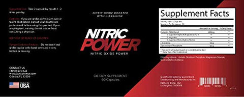 Nitric Power Nitric Oxide Supplement With L Argenine   800mg   Promotes Muscle Growth, Vascularity A
