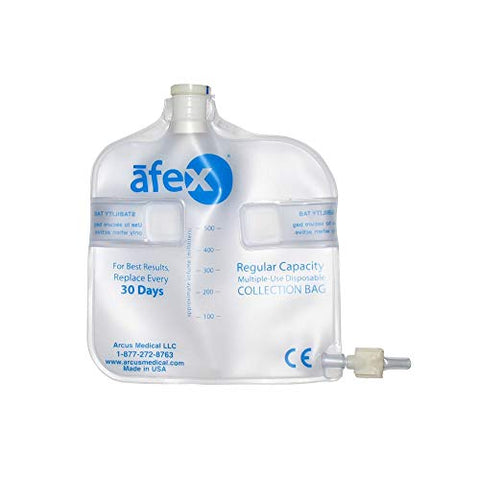 Urinary Collection Bag 500 mL Standard, Non-Vented 2/Pack - Replacement Bags for Afex Incontinence System