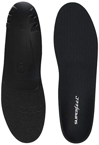 Superfeet BLACK, Thin Insoles for Orthotic Support in Tight Shoes, Dress and Athletic Footwear, Unisex, Black, Large/E: 10.5-12 Wmns/9.5-11 Mens