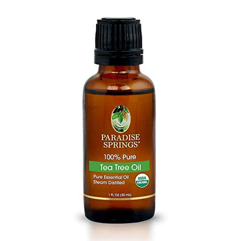 100% Pure USDA Certified Organic Tea Tree Oil - 1 OZ (30ml) Therapeutic Grade Essential Oil from Paradise Springs
