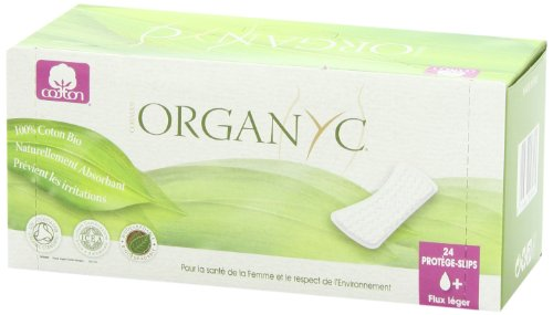 ORGANYC Hypoallergenic 100% Organic Cotton Panty Liners, flat, 24-count Boxes (Pack of 2)