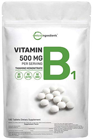Micro Ingredients Vitamin B1 Thiamine Supplements, 500mg Per Serving (180 Count (Pack of 1))