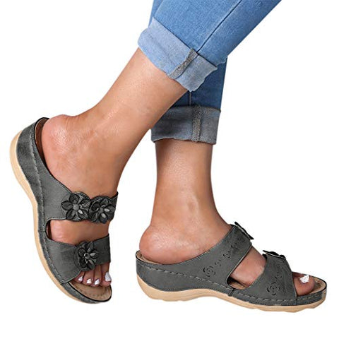 FEISI22 ?? New Styles Graduation Gifts Sandals for Women Flats Open Toe Thick Bottom Comfortable Shoes Wedges Slippers Gray
