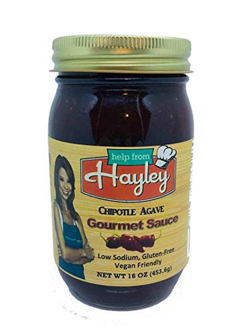 Chipotle Agave Cooking Sauce by Help from Hayley Sauces- Southwest BBQ, low sodium, low fat, vegan friendly, gluten free -16 oz.