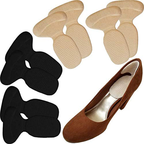 Chiroplax High Heel Cushion Inserts Pads (4 Pairs) Suede Metatarsal Heel Liner Protector Grips Anti Slip Shoe Insoles for Women (Beige & Black)