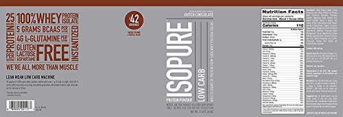 Isopure Low Carb, Keto Friendly Protein Powder, 100% Whey Protein Isolate, Flavor: Dutch Chocolate, 3 Pounds