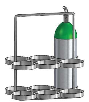 FWF Oxygen Rack W/Handle Holds 6 (M-22 OR JD 5.50 Style) CYLINDERS Diameter of 5.25