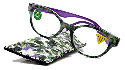 Sally,Premium Reading Glasses, High End Readers +1.25 to +3. Magnifying Glasses, Round. Optical Frames. Tortoise Purple. NY Fifth Avenue.