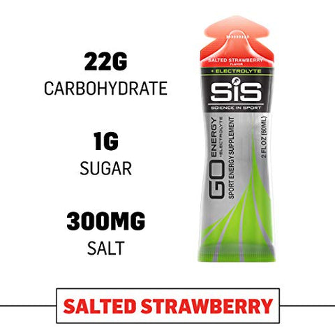 Science in Sport Energy Gel Pack | SIS Isotonic Energy Gel, 22g Fast Acting Carbs, Performance & Endurance Gels, Salted Strawberry Flavor - 2 Oz. (30 Pack)