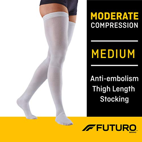 Futuro Anti-Embolism Thigh Highs, Unisex, Moderate Compression, Medium, White, Helps Reduce Formation of Blood Clots