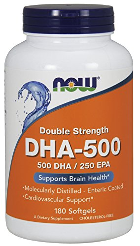 Now Supplements, Dha 500 With 250 Epa, Molecularly Distilled, Supports Brain Health*, 180 Softgels
