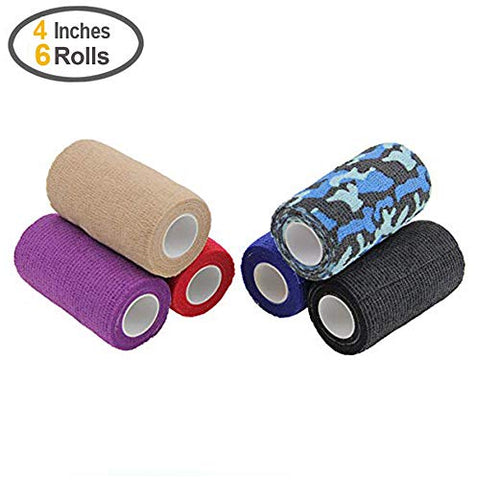 MUEUSS Self Adhesive Bandage Wrap Tape Non-Woven FDA Approved 4 Inches x 5 Yards (Mix Color, 6 roll)