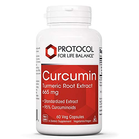 Protocol For Life Balance - Curcumin - Turmeric Root Extract 665 mg - Reduces Joint Inflammation and Helps Maintain Normal Cardiovascular Health - 60 Veg Capsules