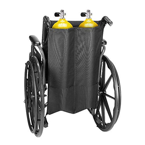 Issyzone Oxygen Cylinder Bag, Dual Oxygen Cylinder Holder, O2 Tank Bag for Wheelchair Walker Oxygen Tank Holder with Nice Mesh Storage Pocket Fits D and E Oxygen Tanks