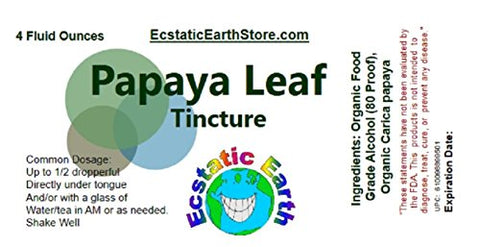Papaya Leaf Extract/Tincture ~ 4 Ounce Bottle ~ 100% Organic Graviola