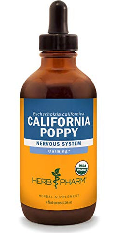 Herb Pharm Certified Organic California Poppy Liquid Extract for Calming Nervous System Support - 4 Ounce