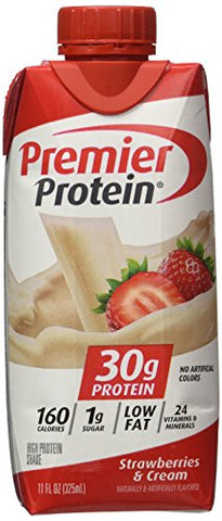 Premier Protein Strawberries & Cream Flavored High Energy Protein Shake 30g Protein of 11 Oz - 18 Pack Cos24