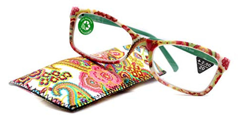 Frida, Premium Reading Glasses, High End Readers +1.25 +1.5 +2.75 +3 Magnifying, Square Optical Frame. White Paisley. NY Fifth Avenue