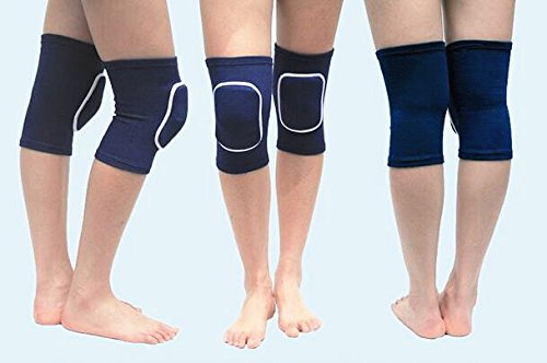 MINILUJIA Children's Kids Knee Brace Tight Non-Falling Sponge Sleeves Breathable Flexible Elastic Support Protector Cover 2PCS/Pair (s, Navy Blue)