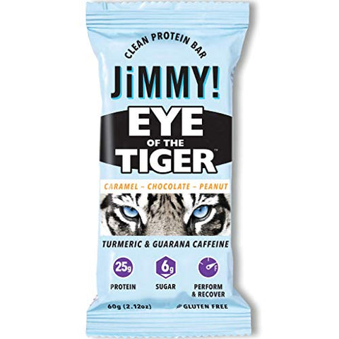 Jimmy! Eye of The Tiger Protein Bar, Caramel Chocolate Peanut Flavor, 25g Protein with Guarana Caffeine and Turmeric, 12 Count