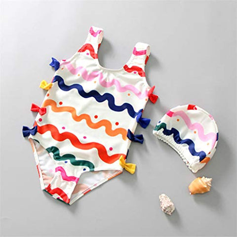 heavKin Baby Girls' One-Piece Swimsuit Summer Print Bowknot Beach Bathing Suit + Swimming Cap 2 Peice Set (White, S)