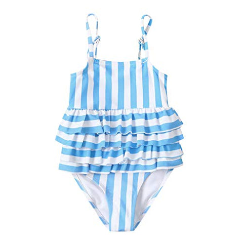 heavKin Infant Baby Girl Summer Swimsuit O-Neck Sling Striped Printed Bathing Suit w/Ruffles (Blue, 12)