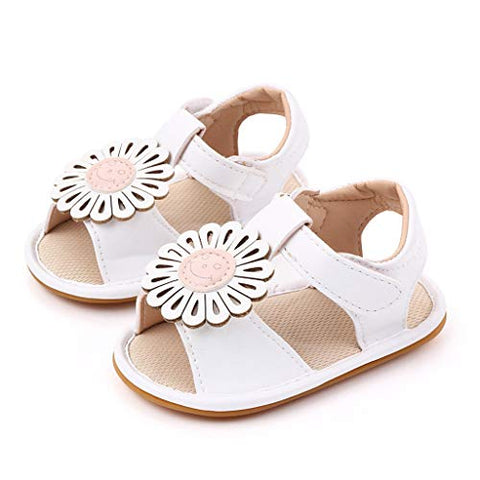 Infant Baby Girls Summer Sandals Closed-Toe Breathable Soft Sole Flowers Toddler First Walker Shoes