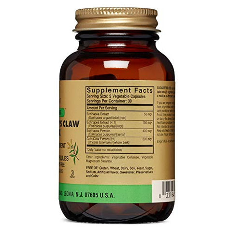 Solgar - Full Potency Echinacea/Cat's Claw Complex, 60 Vegetable Capsules