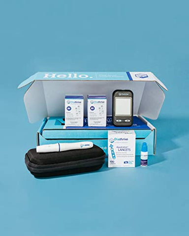 Diathrive Blood Glucose Monitoring Kit - Diathrive Blood Glucose Meter, 200 Blood Test Strips, 1 Lancing Device, 30 Gauge Lancets-100 Count, Control Solution, Logbook, and Carrying Case