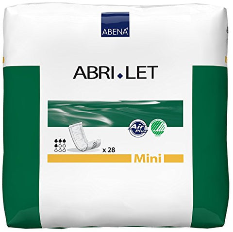 Abena Abri-Let Fluff Incontinence Pads Without Barrier, Mini - 252 Count (9 Packs of 28)