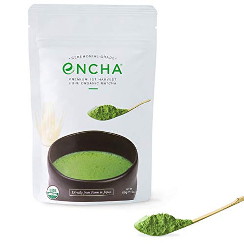 Encha Ceremonial Organic Matcha (USDA Organic Certificate and Antioxidant Content Listed, Premium First Harvest Directly from Farm in Uji, Japan, 60g/2.12oz in Resealable Pouch)