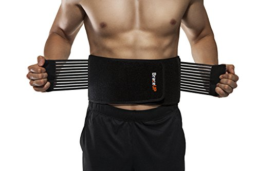 BraceUP Stabilizing Lumbar Lower Back Brace Support Belt Dual Adjustable Straps Breathable Mesh Panels (S/M)