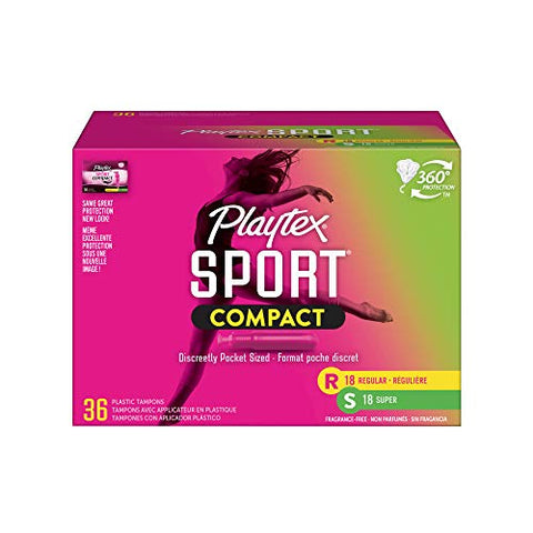 Playtex Sport Compact Athletic Tampons, Regular & Super Absorbency, Multi-Pack of 36 Tampons