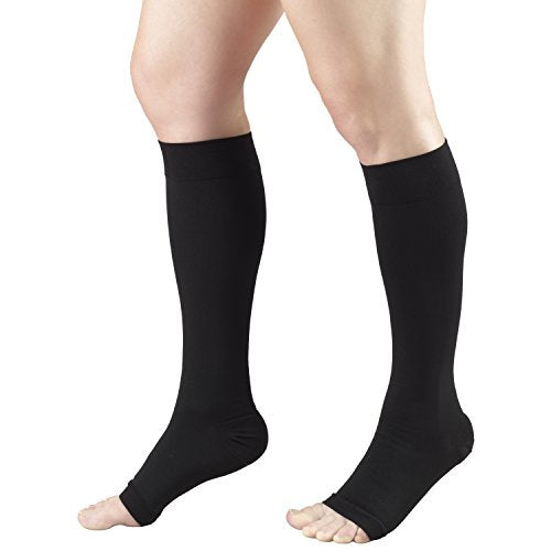 Truform Short Length 20-30 mmHg Compression Stocking for Men and Women, Reduced Length, Open Toe, Black, Medium (20-30 mmHg)