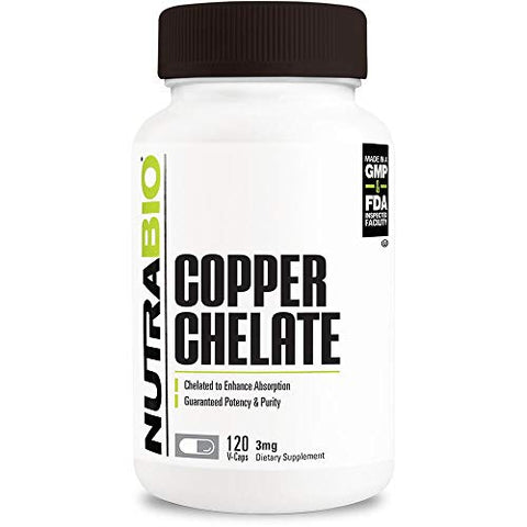 NutraBio Copper Chelate (3 mg) - 120 Vegetable Capsules
