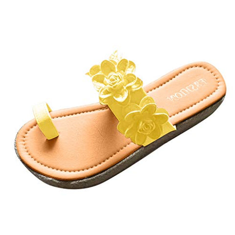 FEISI22 ?? New Styles 2020 Graduation Gifts Womens Sandals Open Toe Flower Pattern Thick Bottom Flip Flop Weaving Shoes Yellow