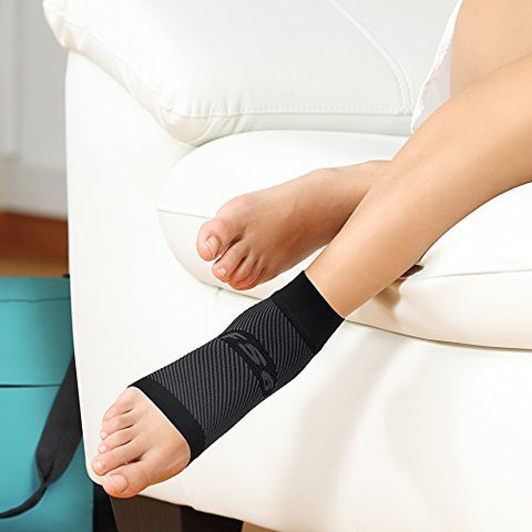 OrthoSleeve FS6 Foot Bracing Sleeve treats Plantar Fasciitis, Achilles Tendonitis and relieves heel pain in a soft, moisture-wicking fabric (Large, Black)