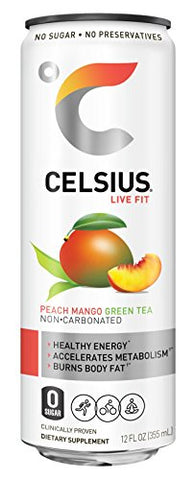 Celsius Peach Mango Green Tea Non Carbonated Fitness Drink, Zero Sugar, 12oz. Slim Can 4 Packs, 24 C