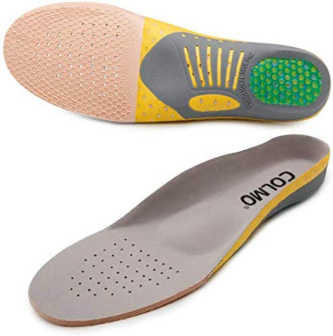 COLMO'S Arch Support Insoles for Plantar Fasciitis Shock-Absorbing Pain Relief Orthotics Flat feet Full-Length Inserts Size cutable Unisex (US 8-11.5)