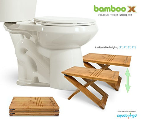 Squat N Go Bamboo x Adjustable-Height Toilet Stool with Travel Bag