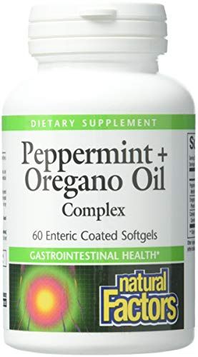 Natural Factors, Peppermint & Oregano Oil Complex, Digestive Aid for Gastrointestinal Health, 60 softgels (60 servings)