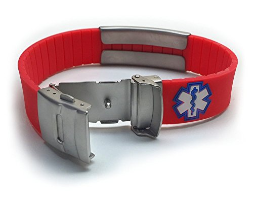 Red Silicone Sport Medical Alert ID Bracelet (Incl. 5 Lines of Custom Engraving). Choose Your Color! -