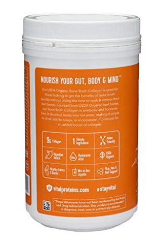 Vital Proteins Organic, Grass Fed Beef Bone Broth Collagen, 10 Oz Canister   Natural Amino Acids + H