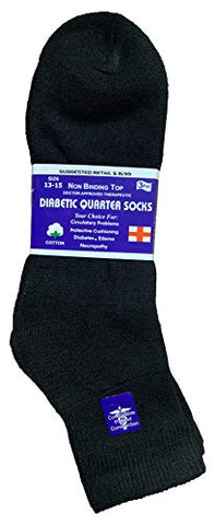 Yacht & Smith King Size Loose Fit Non-Binding Soft Cotton Diabetic Crew & Ankle Socks, Bulk Value Pack (6 Pack Black Ankle, King (13-16))