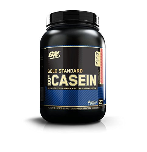 OPTIMUM NUTRITION Gold Standard 100% Micellar Casein Protein Powder, Slow Digesting, Helps Keep You Full, Overnight Muscle Recovery, Strawberry Cream, 2 Pound