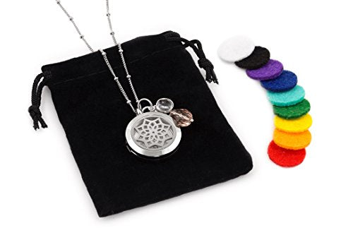 "1 Silver Dreamcatcher Essential Oil Diffuser Necklace - Aromatherapy Jewelry - Hypoallergenic 316L Surgical Grade Stainless Steel, 20.8"" Chain + 9 Washable Insert Pads + Charms"