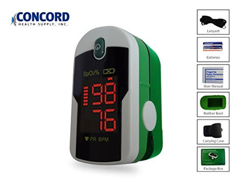 Concord Emerald Fingertip Pulse Oximeter with Reversible Display, Carrying Case and Lanyard
