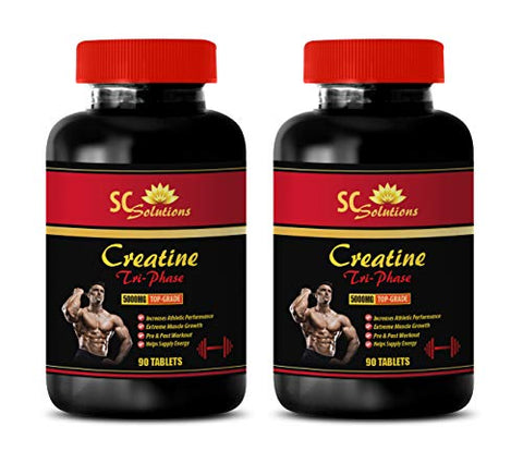 Muscle Building Supplements for Men - CREATINE TRI-Phase 5000 Mg - PRE & Post Workout - creatine monohydrate Pills - 2 Bottles (180 Tablets)