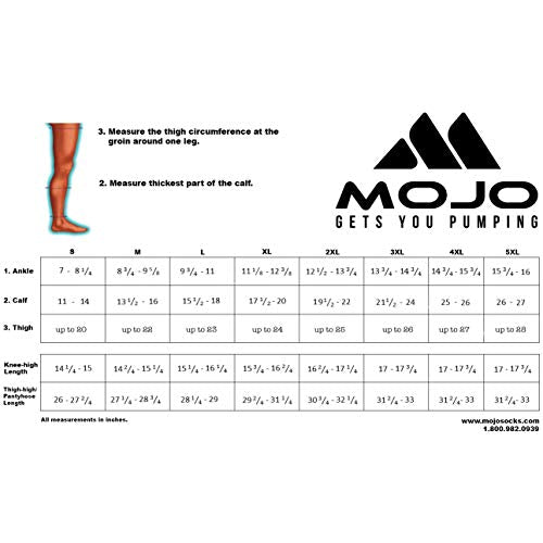 Mojo Compression Socks 20 30mm Hg Made In The Usa   Knee Length   Open Toe   Graduated Compression St
