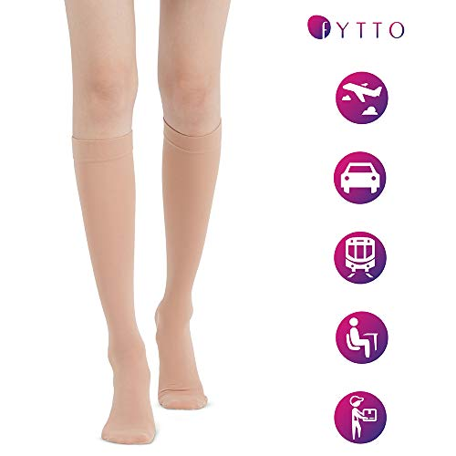 Fytto 1007 Womenâ??S Compression Socks â?? Stylish, Lightweight & Breathable 15 20mm Hg Flight Stocki
